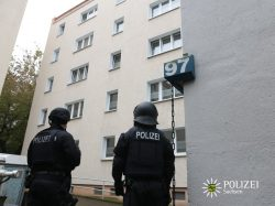 Polizeieinsatz in nach Sprengstofffund in Chemnitz am 9. Oktober 2016. (Bild: Polizei Sachsen)